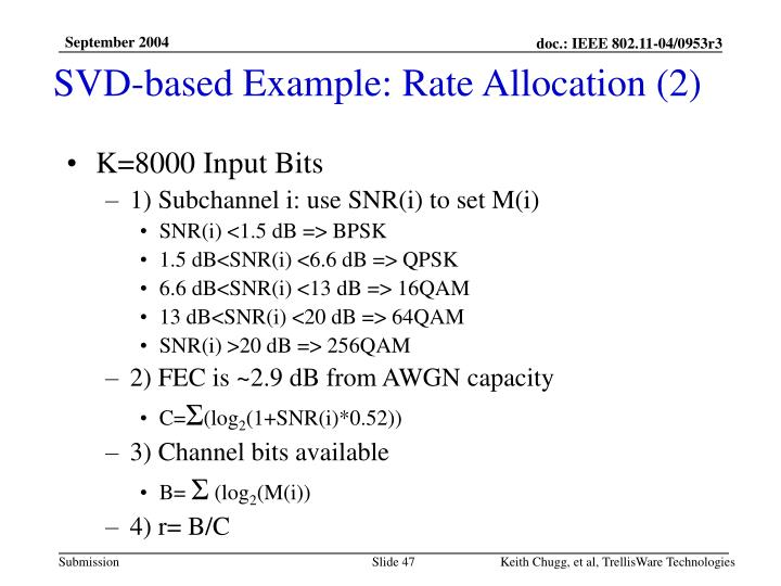 SVD-based Example: Rate Allocation (2)