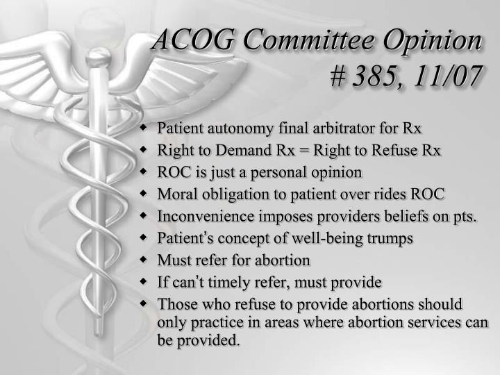 ACOG Committee Opinion # 385, 11/07