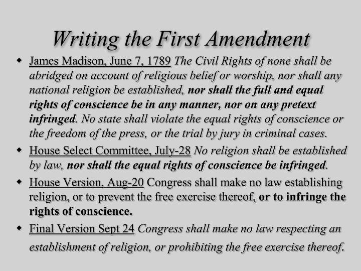 Writing the First Amendment