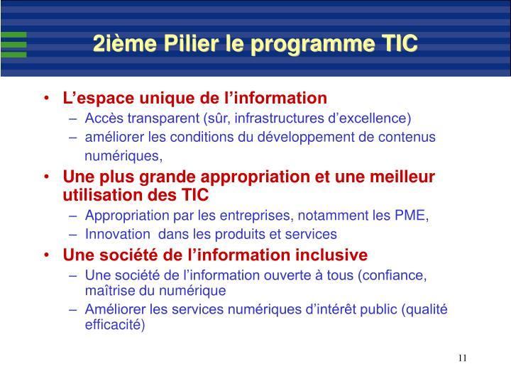 2ième Pilier le programme TIC