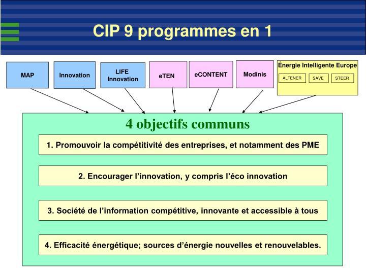 CIP 9 programmes en 1
