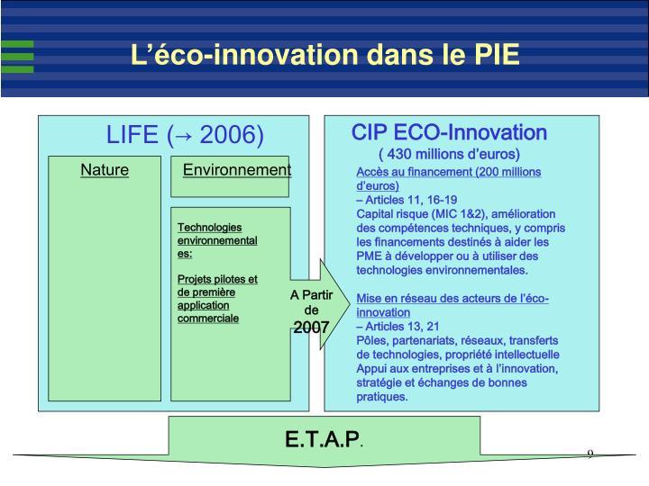L'éco-innovation dans le PIE