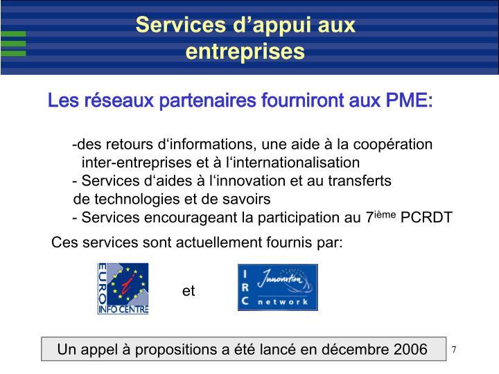 Services d'appui aux entreprises