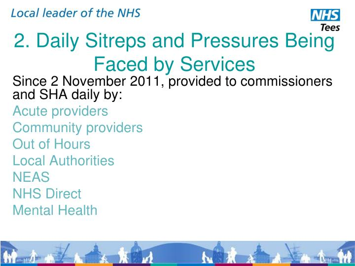 2. Daily Sitreps and Pressures Being Faced by Services