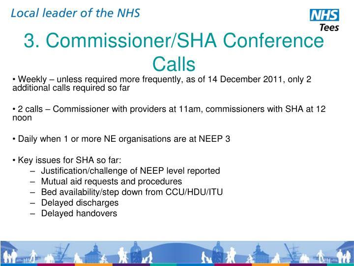 3. Commissioner/SHA Conference Calls