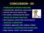 concussion sx