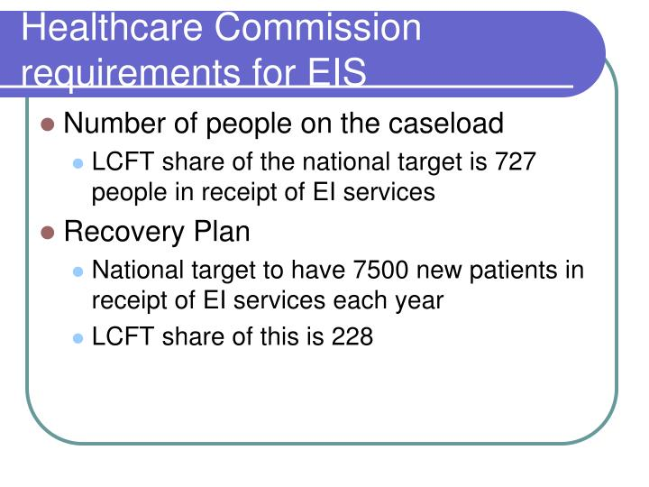 Healthcare Commission requirements for EIS