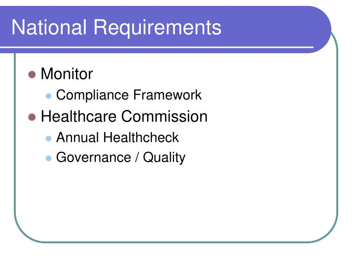 National Requirements