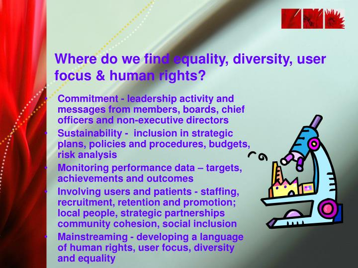Where do we find equality, diversity, user focus & human rights?