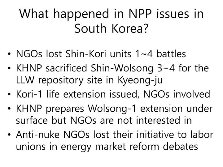 What happened in NPP issues in South Korea?