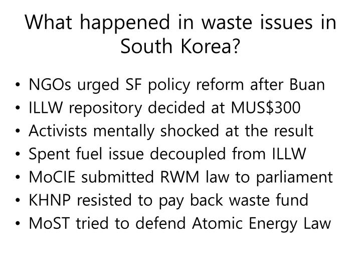 What happened in waste issues in South Korea?