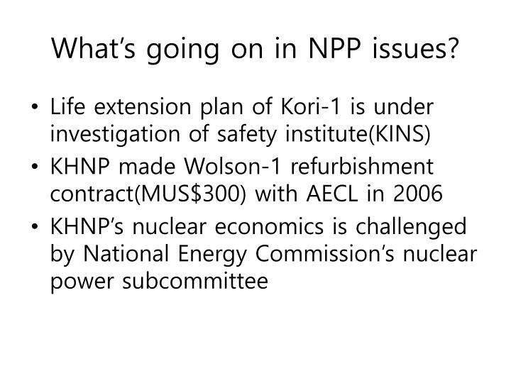 What's going on in NPP issues?