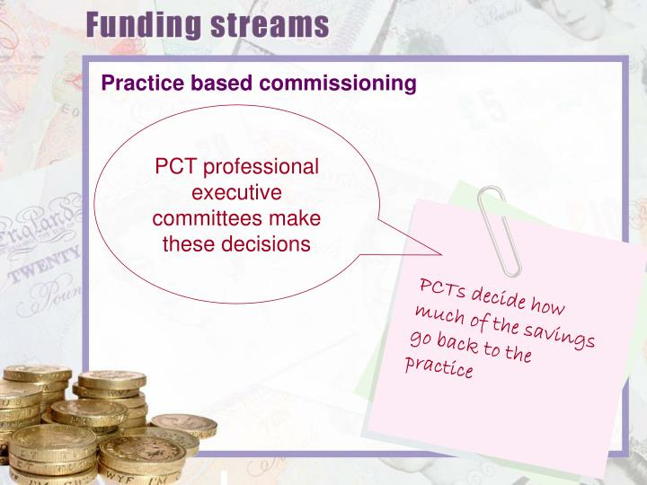 PCTs decide how much of the savings go back to the practice