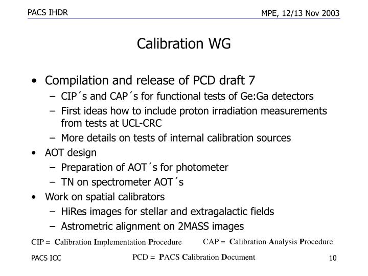 Calibration WG