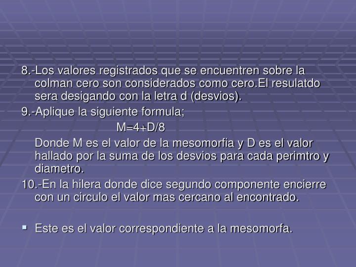 8.-Los valores registrados que se encuentren sobre la colman cero son considerados como cero.El resulatdo sera desigando con la letra d (desvios).