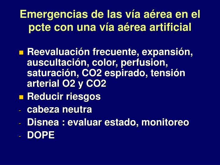 Emergencias de las vía aérea en el pcte con una vía aérea artificial