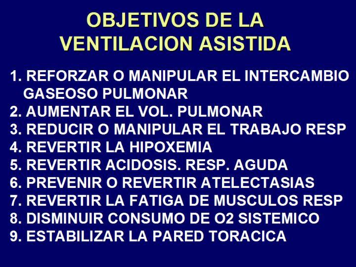 OBJETIVOS DE LA VENTILACION ASISTIDA