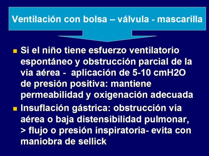 Ventilación con bolsa – válvula - mascarilla