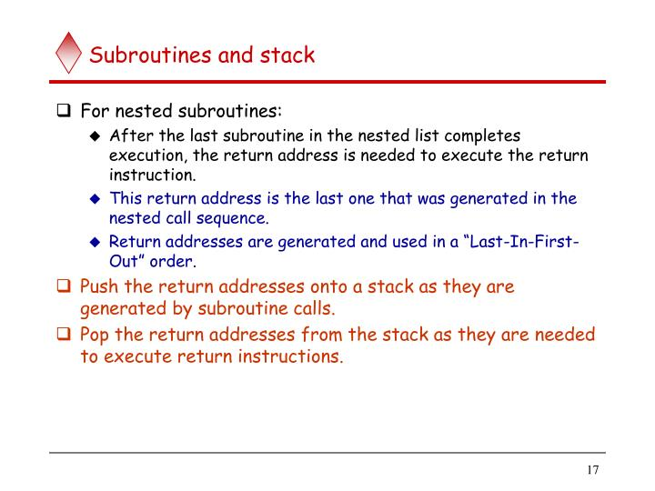 Subroutines and stack