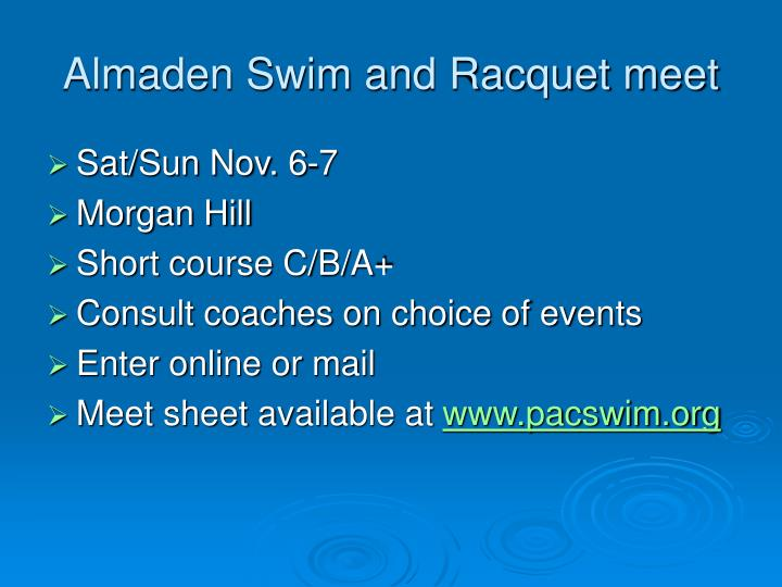 Almaden Swim and Racquet meet