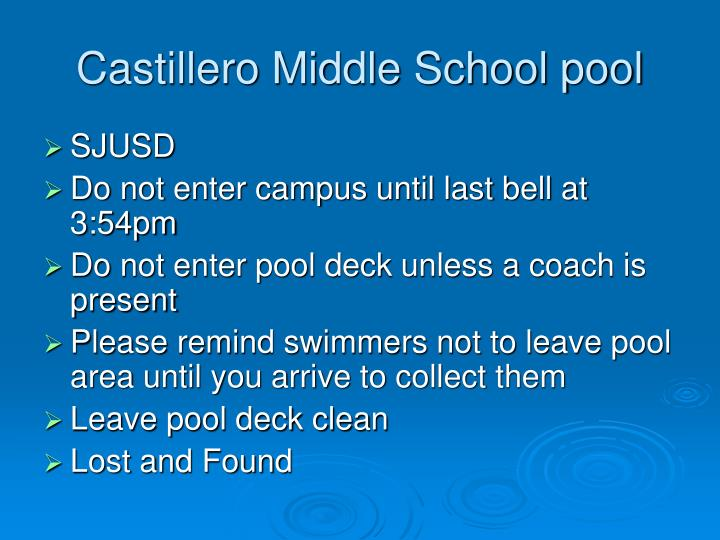 Castillero Middle School pool