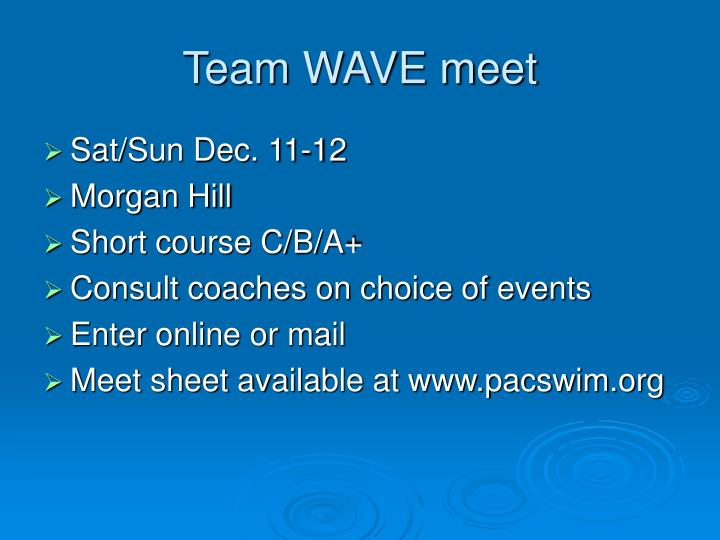 Team WAVE meet
