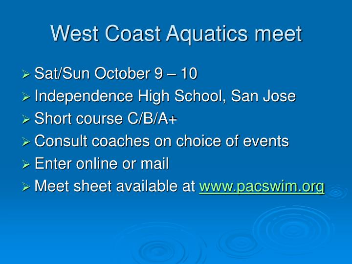 West Coast Aquatics meet