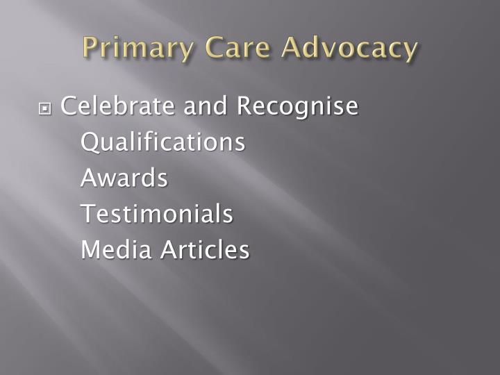Primary Care Advocacy