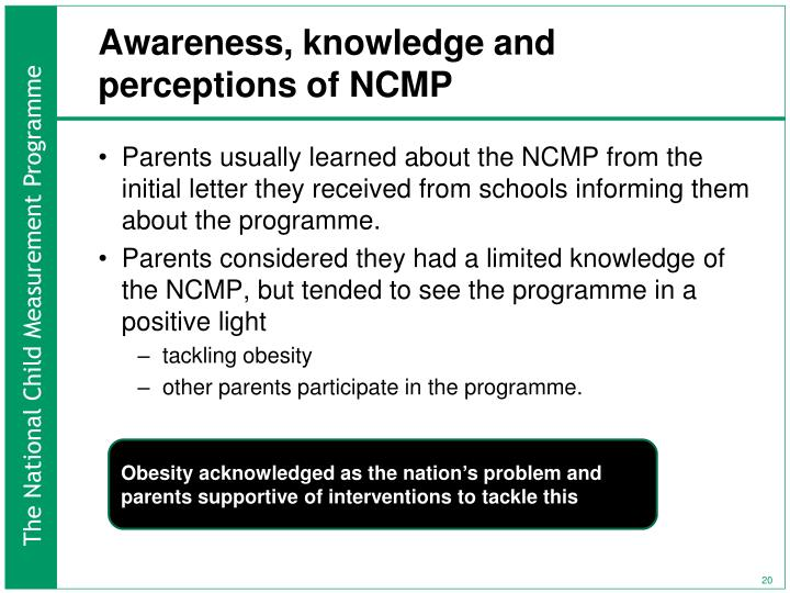 Awareness, knowledge and perceptions of NCMP