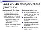 aims for r d management and governance