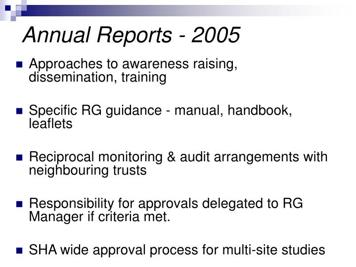 Annual Reports - 2005