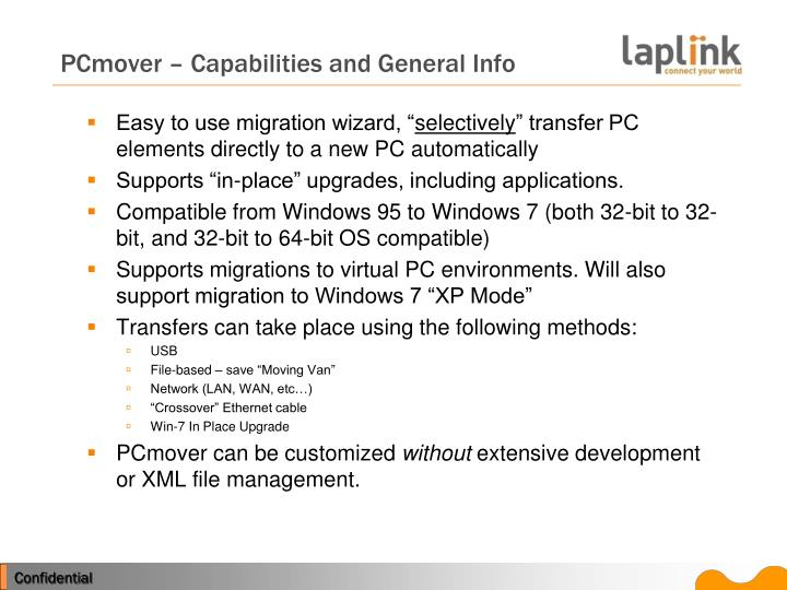 Pcmover capabilities and general info