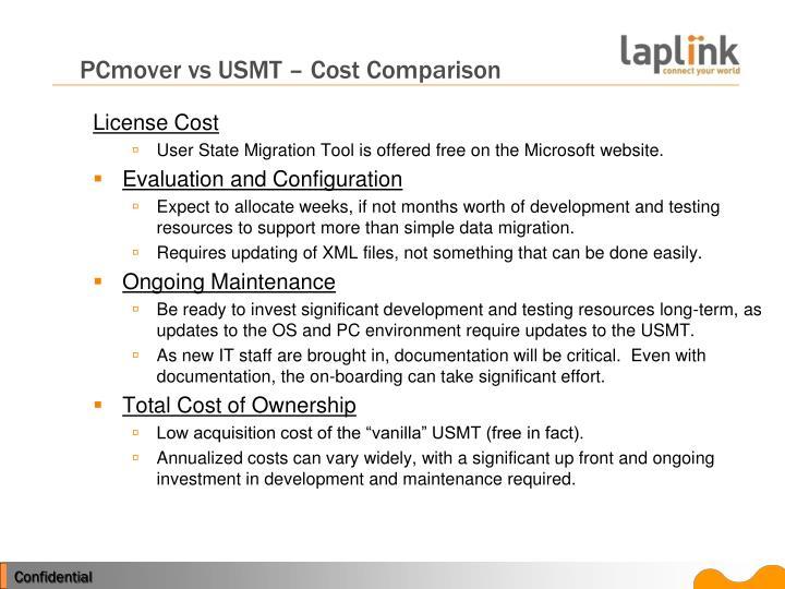 PCmover vs USMT – Cost Comparison