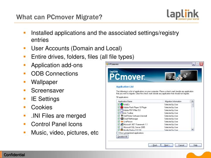 What can PCmover Migrate?