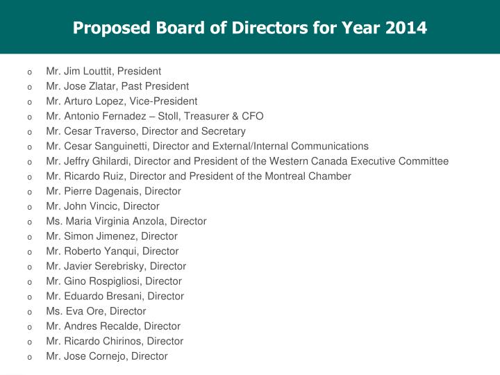 Proposed Board of Directors for Year 2014