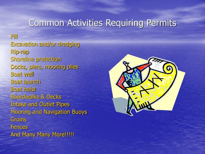 Common Activities Requiring Permits