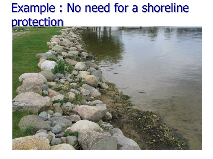 Example : No need for a shoreline protection