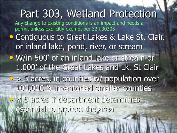 Part 303, Wetland Protection