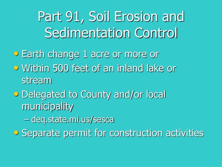 Part 91, Soil Erosion and Sedimentation Control