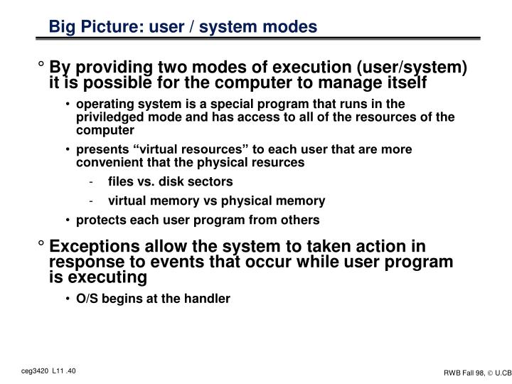 Big Picture: user / system modes