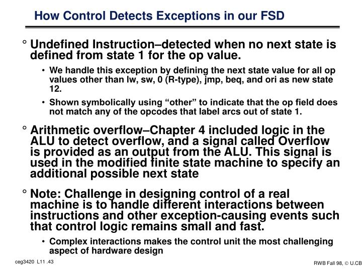 How Control Detects Exceptions in our FSD