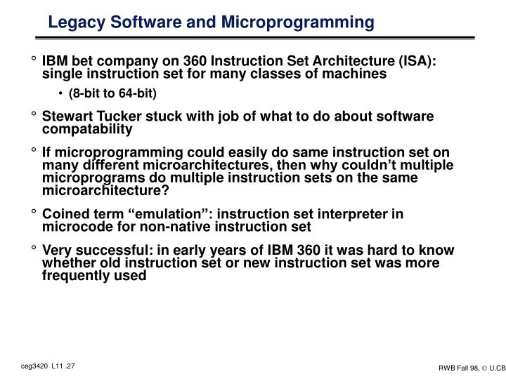 Legacy Software and Microprogramming