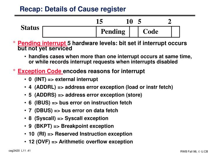 Recap: Details of Cause register