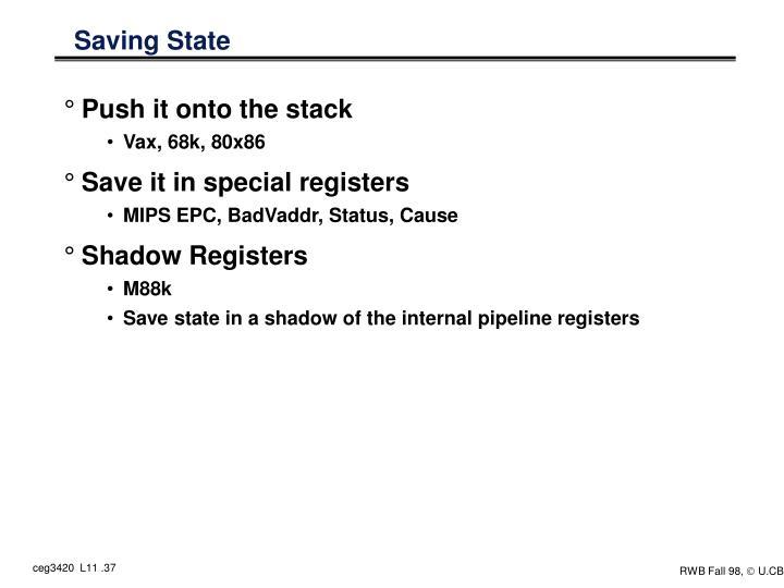 Saving State