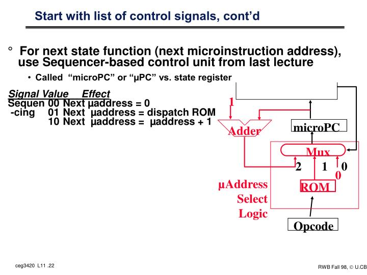 Start with list of control signals, cont'd
