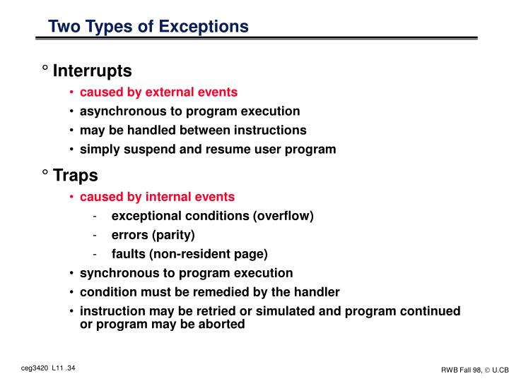 Two Types of Exceptions