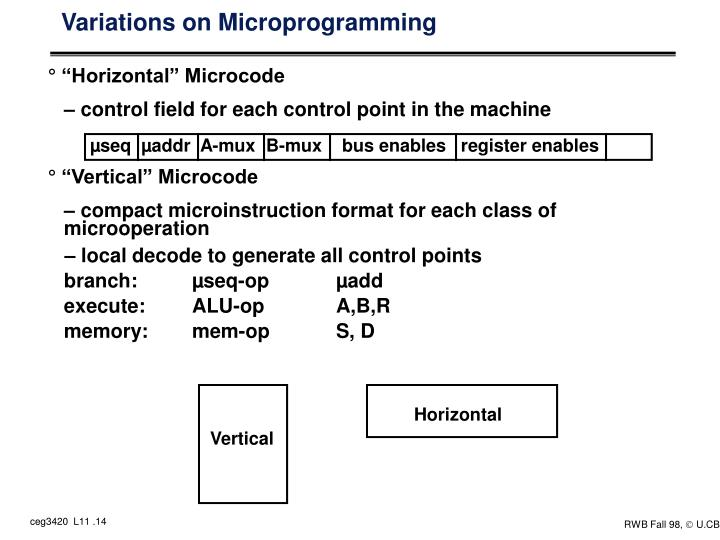 Variations on Microprogramming