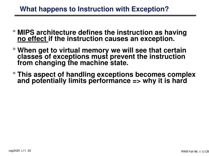 What happens to Instruction with Exception?