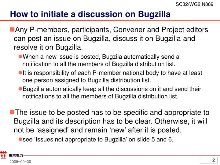 How to initiate a discussion on bugzilla