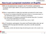 how to put a proposed resolution on bugzilla